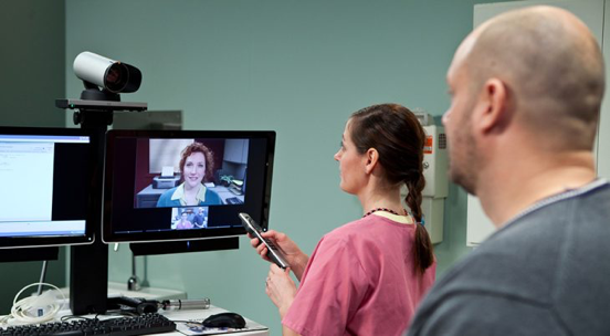 Photo of VA Telehealth services operated by a clinician